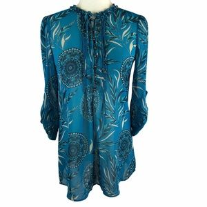 New York & Company Printed Half Button Tunic Top